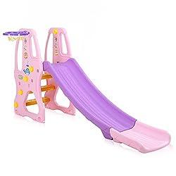 Baby Vivo Kinder Rutsche Gartenrutsche Kleinkinderrutsche Kunststoff abgerundete Ecken & Kanten für Indoor & Outdoor in Lila/Rosa