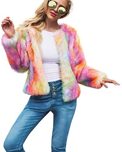 Suncaya capispalla per donna cappotto corto in pelliccia sintetica shaggy soffice colorata cappotto invernale rainbow color l