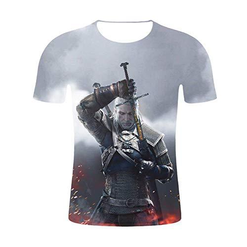 Camiseta 3D Juego ImpresióN Digital Para The Witcher 3: Wild Hunt Sudadera Casual Manga Corta Suelta,A3,Xxl