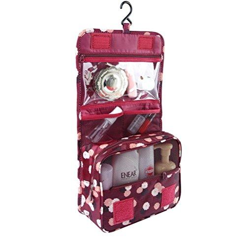 Braun Pocket Organizer (Fieans Reisen Kosmetiktasche Kosmetikkoffer Verfassungsbeutel Kulturtaschen Toiletbag Kulturtasche Veranstalter Necessaire-Wein Blume)