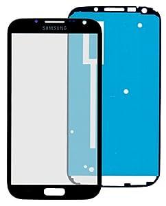 Samsung Galaxy Note 2 N7100 Glas in SCHWARZ/grau: Reparatur Set *NEU* mit Glas Scheibe und Kleber, Display black, Frontscheibe komplett, Display-glass repair kit für Note 2, Ersatzteil für Glasscheibe