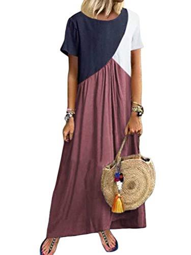 Minetom Sommerkleider Damen Kurzarm Kleider Casual Loose Rundhals Strandkleider Farblock Boho Maxikleider Böhmen Baumwolle Leinen Kleid B Rosa DE 42 -