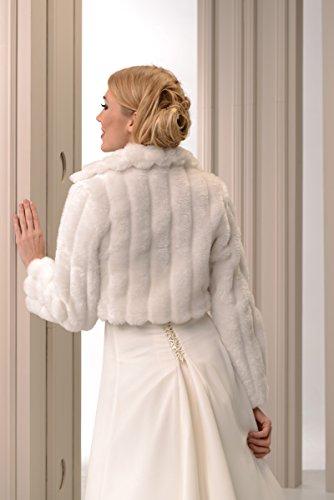 Femme Veste legere souple de mariee mariage bolero en fourrure avec manche pleine longueur doublure integrale Blanc