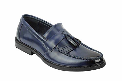 Xposed Herren Mokkasins Leder Tassel Loafers Retro, Gr.-43 EU, Marineblau