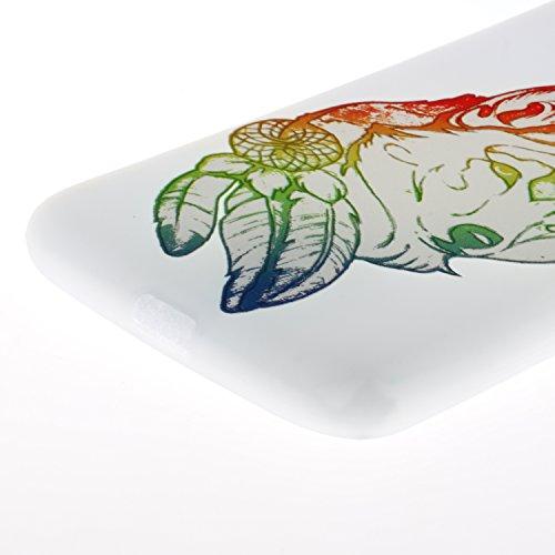 Coque Huawei P8 Lite Coque Silicone Souple Motif Original, Meet de Givré Coque TPU Slim Bumper [Shock-Absorption Bumper et Anti-Scratch Effacer Back] pour Huawei P8 Lite Souple Housse de Protection Fl Tête de loup