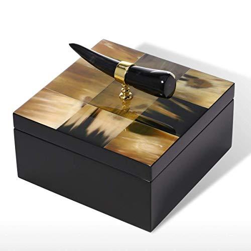 IU Desert Rose Coffret à Bijoux Compact Tooarts Square boîte à Bijoux avec Corne Stripes en Bois Bijoux vitrine Cadeaux d'anniversaire pour Les Femmes Velours Noir (Taille : 18 * 18 * 15cm)