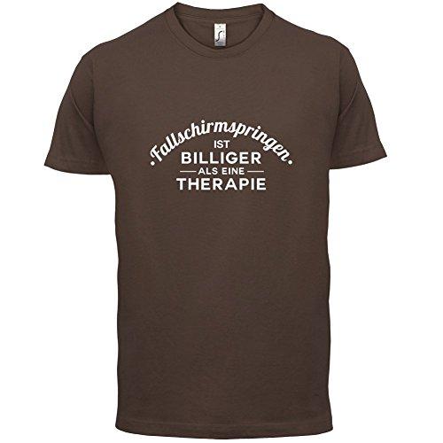 Fallschirmspringen ist billiger als eine Therapie - Herren T-Shirt - 13 Farben Schokobraun