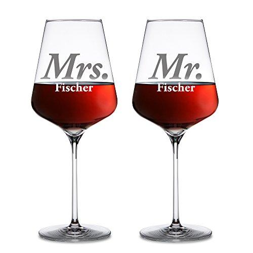 AMAVEL Rotweingläser – 2er Set Weingläser mit Gravur zur Hochzeit – Mr & Mrs - Personalisiert mit [Namen] – Weinglas als Geschenkidee für Paare – Gläserset als Hochzeitsgeschenk – Füllmenge: 644 ml
