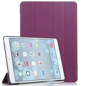 EasyAcc® Ultra dünne Elegant iPad Air Protector Leder Tasche hülle Smart Cover Flip Case für 2013 Apple iPad Air iPad 5 Schutzhülle Lederhülle mit Standfunktion Auto Sleep Wake up Funktion (PU Leder,Lila,Sehr elegant)