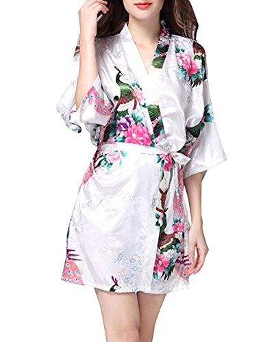 Sleepwear da donna in seta primavera estate stampa pavone casa accappatoio in raso confortevole casual elegante camicia da notte sleepshirts bianca