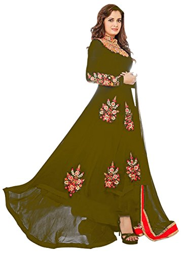 Designer Desk Graceful Floor Length Dress - Stylish Semistitched One Piece - Indian Ethnic Anarkali Gown in Bollywood Style  available at amazon for Rs.1099