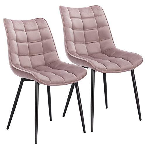 WOLTU® Esszimmerstühle BH142rs-2 2er Set Küchenstuhl Polsterstuhl Wohnzimmerstuhl Sessel mit Rückenlehne, Sitzfläche aus Samt, Metallbeine, Rosa