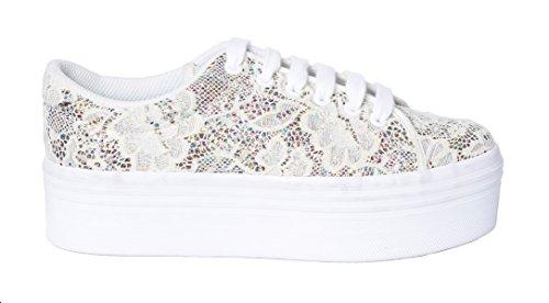 Sneaker JC Play Zomg bassa in pizzo crema e glitter Multicolor