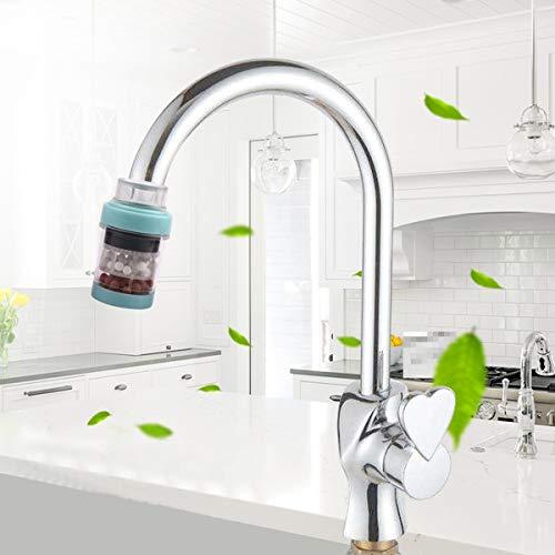 Wasserhahnfilter 360 Grad Calciumsulfit Wasserhahn Wassersprudler Duschdüse Adapter für Bad Küche blau