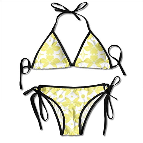 Shape Soft Wax (MIOMIOK Adjustable Bikini Set Halter Ladies Swimming Costume, Soft Pattern with Floral Motifs Dots Heart Shapes Abstract Artistic,Halter Beach Bathing Swimwear)