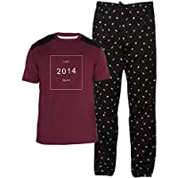Dream of Glory Inc. Men's Plus Size Half Sleeve Cotton Stretch Printed Crew Neck T-Shirts and Lounge Pyjama Bottom Sets for Men : S - XXL (Combo Pack of 2)