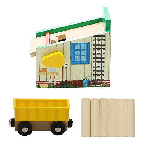 Catschat Lumber Loading Set - Wooden Train Set Accessories