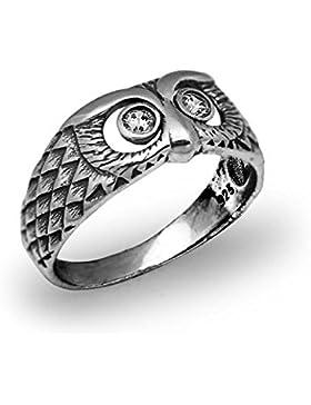 Eule Vogel weiß CZ 925Sterling Silber kleinen Finger Herren Ring