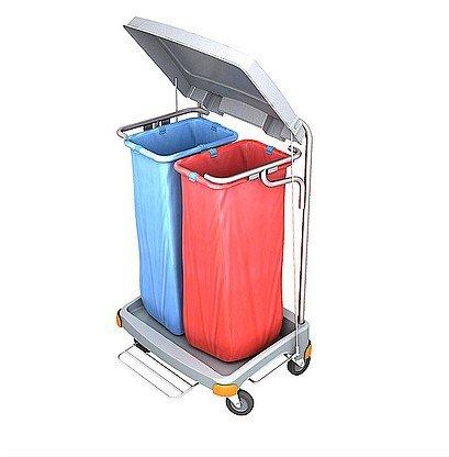 Splast Doppel-Abfallwagen 2x 70l mit Pedal und Deckel - Seitenverkleidung optional, Variante:ohne Beutelabdeckung