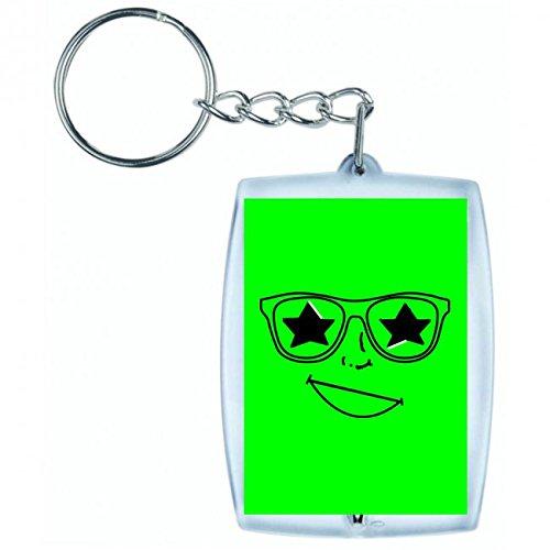 Glückliches Gesicht Kostüm - Druckerlebnis24 Schlüsselanhänger Stern- GLÜCKLICH- GLÄSER- Gesicht- KOSTÜM- Feier- Brille- Sonnenbrille in Grün | Keyring - Taschenanhänger - Rucksackanhänger - Schlüsselring
