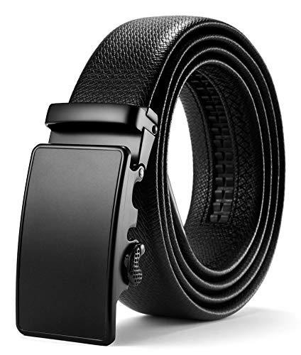 Herren Design Leder (ITIEZY Herren Gürtel Ratsche Automatik Gürtel für Männer 35mm Breit Ledergürtel, Schwarz 110, Länge: Bis zu 49,21 Inches (125cm))