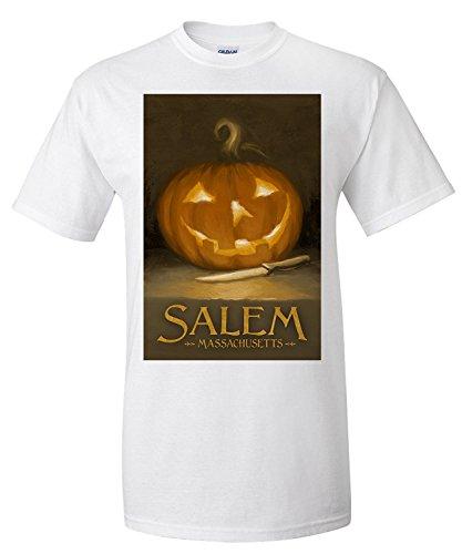 Salem, Massachusetts - Jack-O-Lantern - Halloween Oil Painting (Premium T-Shirt)