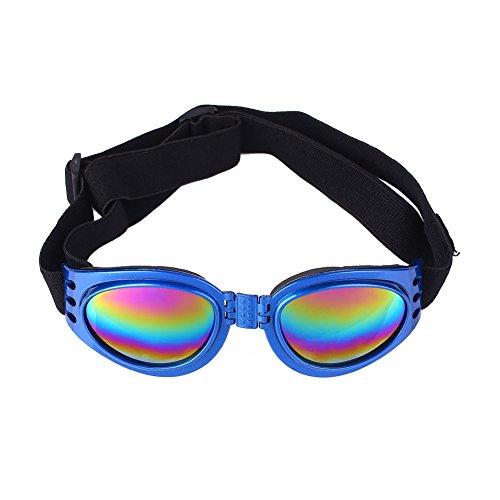 CXZC Justierbare Haustier-Hundebrillen-Sonnenbrille Anti-UV-Sonnenbrille-Augen-Abnutzungs-Schutz mit Blauer/schwarzer/gelber/roter/rosa Farbe