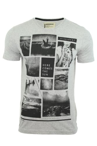Dissident Herren T-Shirt 'Hier Kommt' Kurzärmelig Grau Marl