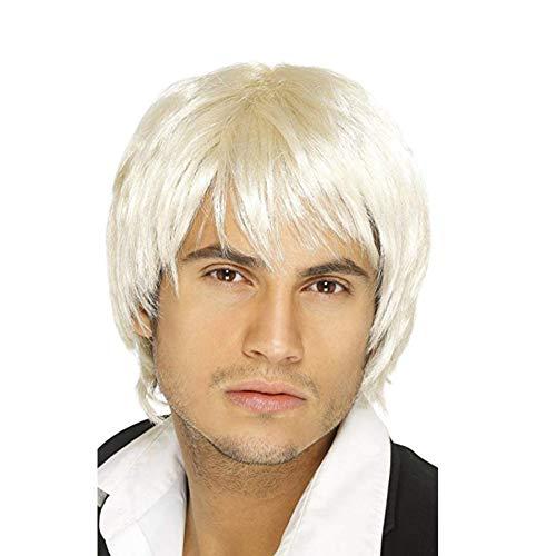 Junge Band Perücke (YANXS Herren Perücke Kurz Glattes Haar für Junge Band Perücke Tägliches Tragen von Cosplay Party Haaren,White)