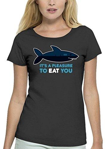 Lustiges Premium Damen T-Shirt aus Bio Baumwolle Pleasure To Eat You Marke Stanley Stella Anthrazite