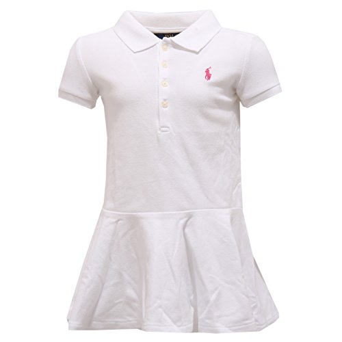 cee9d60203062e Ralph Lauren 8981T Vestito Bimba Polo Bianco White Dress Polo Kid Girl  4T  years