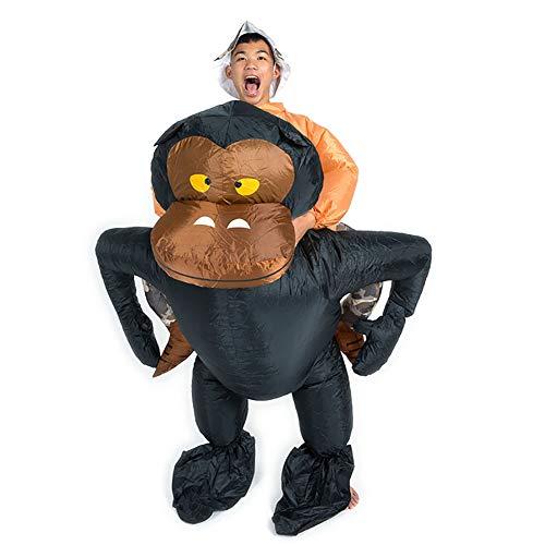 Gonfiabile Ciclista Costume Scimmia Gorilla Scimmia Orangutan Gibbone Fantasia Vestito Divertente Saltare Completo Uomo Natale Halloween Regalo