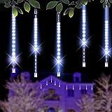 Minger Guirlandes Lumineuses 30cm 8 Tubes 144 LEDs Lumineux LED Météore Etanche Extérieur Douche Pluie Feux pour Mariage Fête Noël Soirée Maison Arbre Sapin Jardin, Blanc