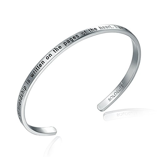 "SOLOCUTE Silber Damen Armband mit Gravur ""The Story of Friendship is Written on the Pages of the Heart. I Am a Better Me Because of You"" Inspiration Frauen Armreif Schmuck"