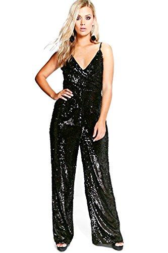 Noir Femme Jordyn Sequin Wrap Strappy Jumpsuit Noir