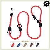 Pets&Partner® Hundeleine aus Nylon/Doppelleine/geflochten in verschiedenen Farben für mittelgroße bis große Hunde farblich passend zu Halsband und Geschirr, Rot