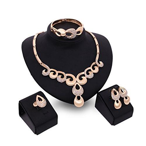 (JAGENIE Fashion Strass Brautschmuck Halskette Ohrring Armband Ring Party Schmuck Geschenk Set)