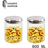 Sanjeev Kapoor Classic Borosilicate Glass Jar with Wodden Lid, 600 ml, Transparent, Set of 2