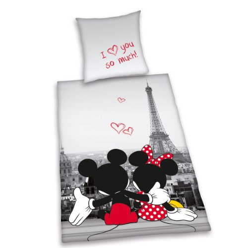 Herding 487809077 - Juego de funda nórdica y funda de almohada (140 x 200 cm y 70 x 90 cm respectivamente, 100 % poliéster, microfibra), diseño de Mickey y Minnie Mouse en París