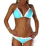 ALZORA Neckholder Damen Bikini Set Top und Hose türkis , 10180 (S)