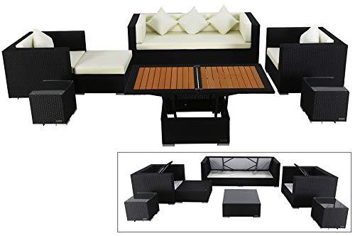 OUTFLEXX Exklusives XL Lounge-Set aus hochwertigem Polyrattan in schwarz, 3-Sitzersofa, 2 Sessel, 1...