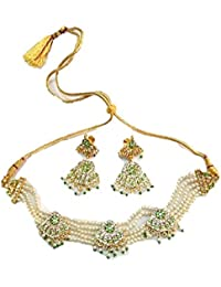 Rajputi Multi Colour Brass And Pearl Choker Necklace Set For Women RF2