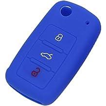 Llavero Funda Protectora Tapa de Clave Cáscara Fob Remoto Silicona Coche para VW Volkswagen Jetta Passat Azul Oscuro