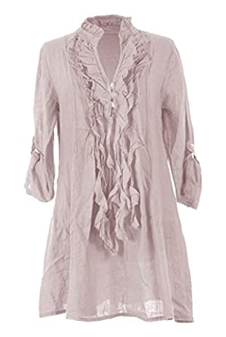 TEXTURE ONLINE Ladies Women Italian Lagenlook Quirky Plain Long Sleeve 3 Button Ruffle Frill Tassel V Neck Linen Tunic Top Blouse One Size UK 8-14 (One Size, Dusty Pink)
