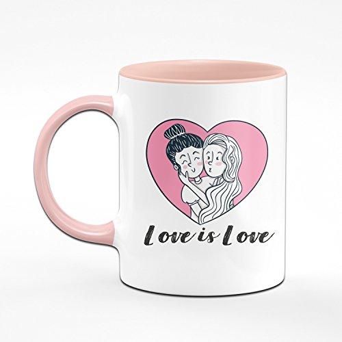 Pride Tasse Love is Love - Rosa Kaffeetasse - Geschenk für Freundin - Geburtstagsgeschenk für Freundin - Schwule Mädchen - Lesbische Geschenke - 2
