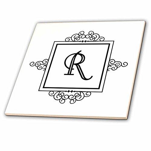 3dRose CT 154341_ 3Persönlichen Monogramm Buchstabe R Fancy schwarz und weiß Typografie Edler stilvoller Personalisierte Keramik Fliesen, 20,3cm (3 Buchstaben-monogramm)