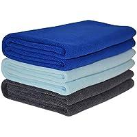 Hope Shine microfibra asciugamano palestra sportive asciugamani asciugamani spugna viaggio o campeggio 40cm X80cm 3-pack (Blu scuro + La luce blu + grigio)
