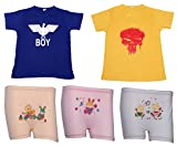 Indistar Boys Cotton Round Neck Half Sleeves Printed T-Shirts And Cotton Printed Bloomers/Panties (Combo Pack of 2 T-Shirt And Pack of 3 Bloomer)-Mult