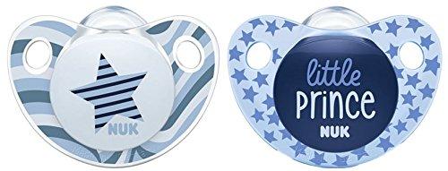NUK Trendline Silikon-Schnuller, kiefergerechte Form, 0-6 Monate, Blau (Boy), 2 Stück