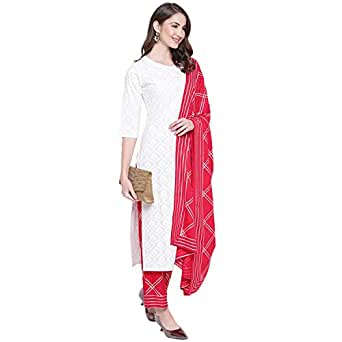 KHUSHAL K Women's Cotton Printed Kurta with Palazzo Dupatta Set (White-Red, Small)